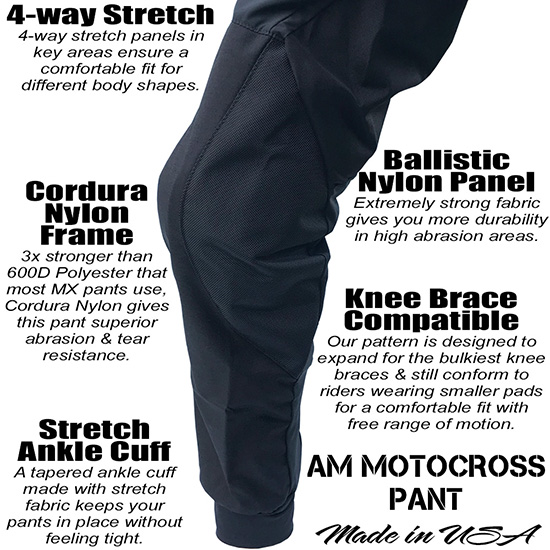Best MX Riding Pants AM Black