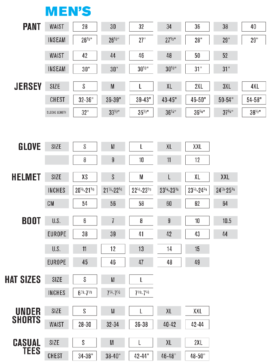 oneal gear size chart 2