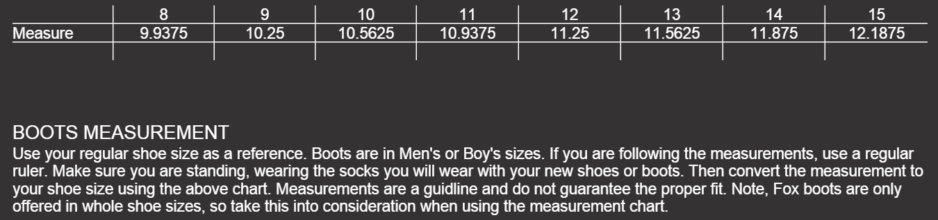 Size Chart Mens Boots