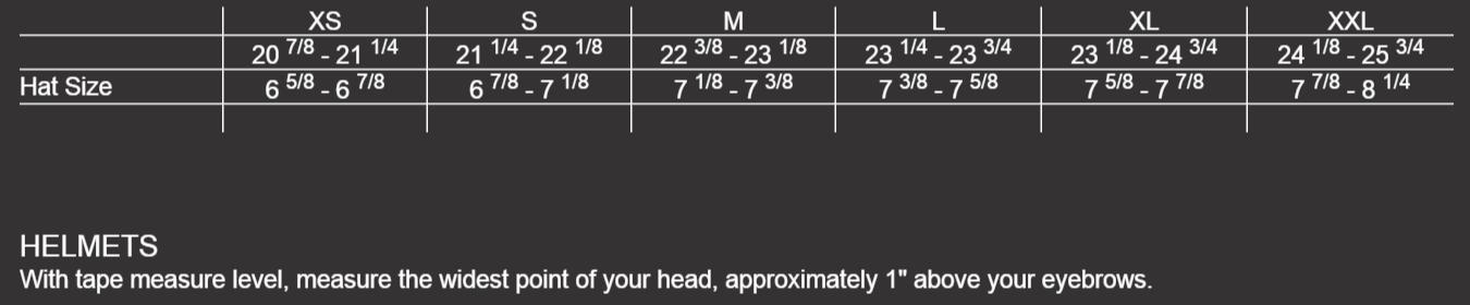 Size Chart Mens Helmets