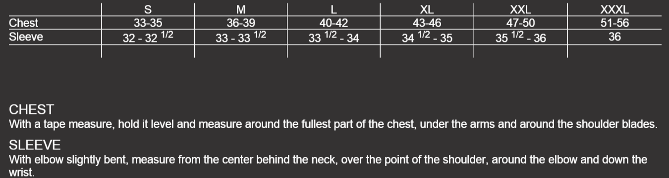 Size Chart Mens Jerseys