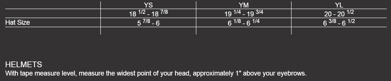 Size Chart Youth Helmets