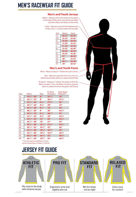 Fly Racing mx gear Size chart