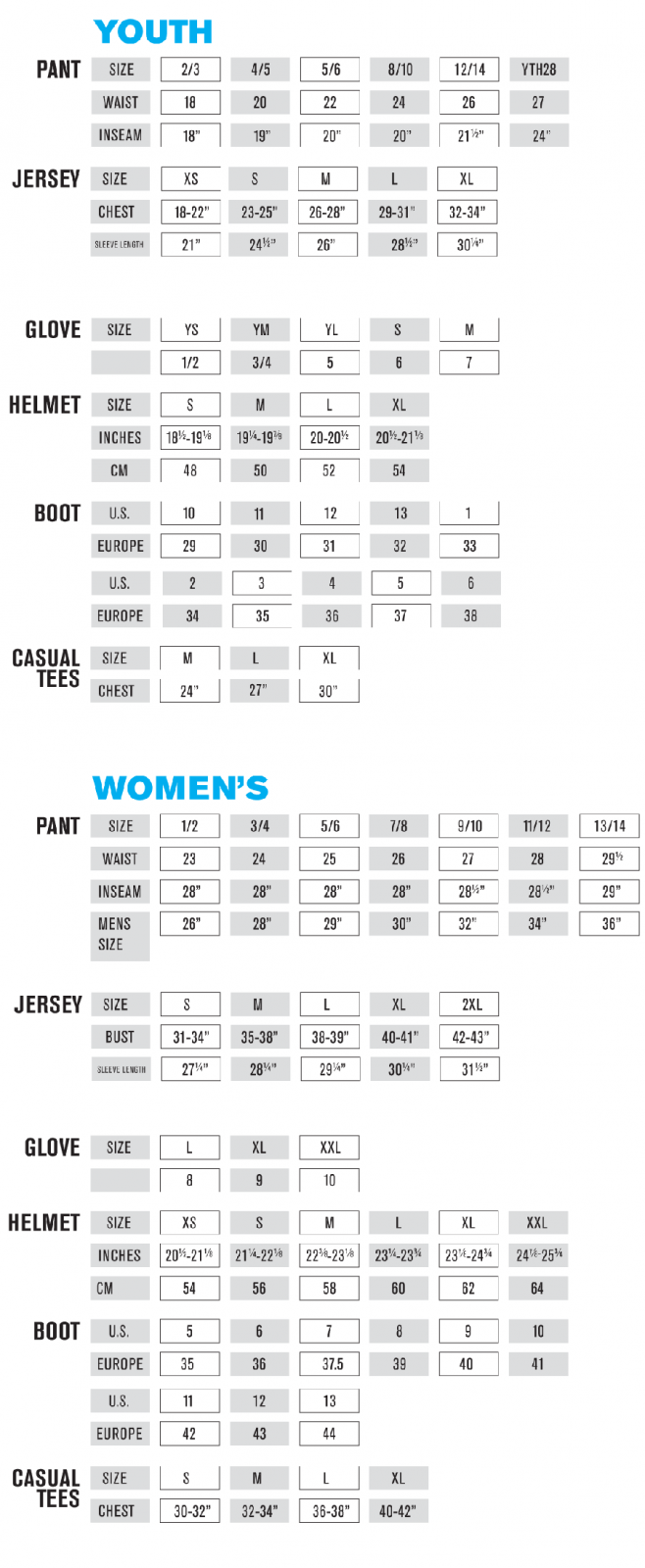 oneal gear size chart 3