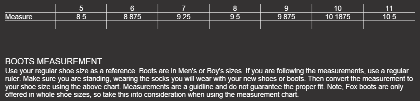 Size Chart Womens Boots