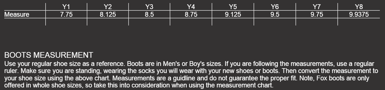 Size Chart Youth Boots