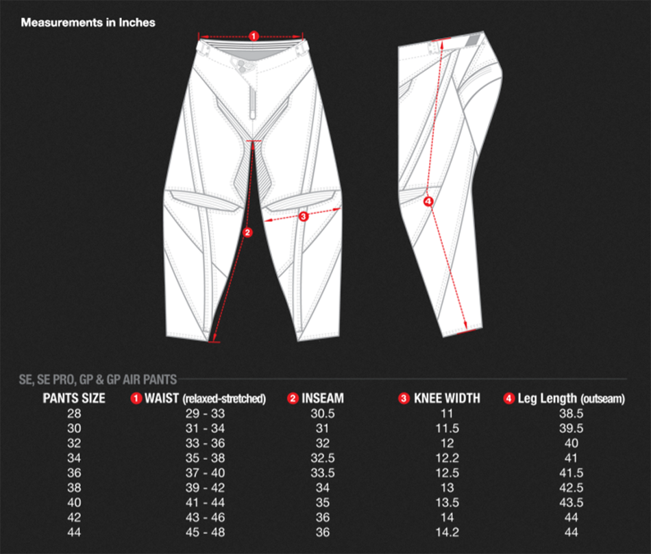 TLD Pant Size Chart
