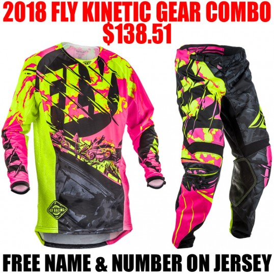 2018 FLY KINETIC OUTLAW GEAR COMBO PINK/ HI VIS
