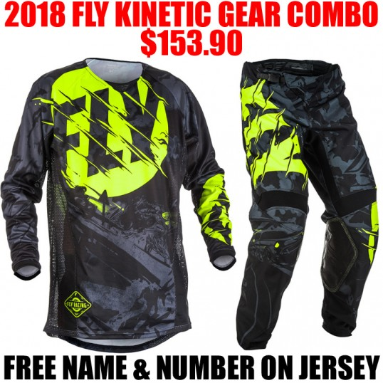 2018 FLY KINETIC OUTLAW GEAR COMBO BLACK/ HI VIS