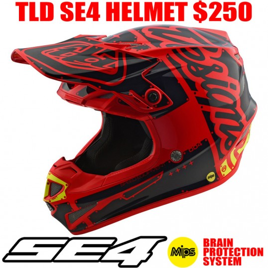 2018 TLD SE4 POLYACRYLITE FACTORY HELMET RED