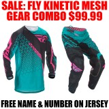 2016.5 FLY KINETIC MESH GEAR COMBO TEAL/ PINK