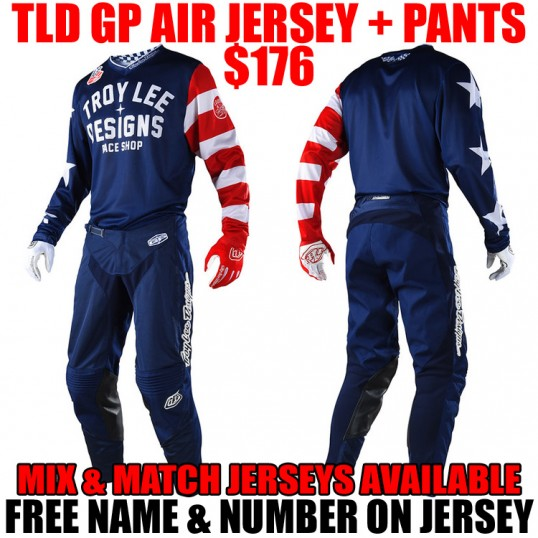 2018 TLD GP AIR AMERICANA GEAR COMBO NAVY/ RED