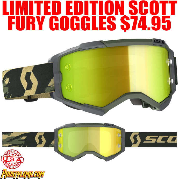 2020 SCOTT FURY GOGGLE MILTARY EDITION WITH YELLOW CHROME LENS