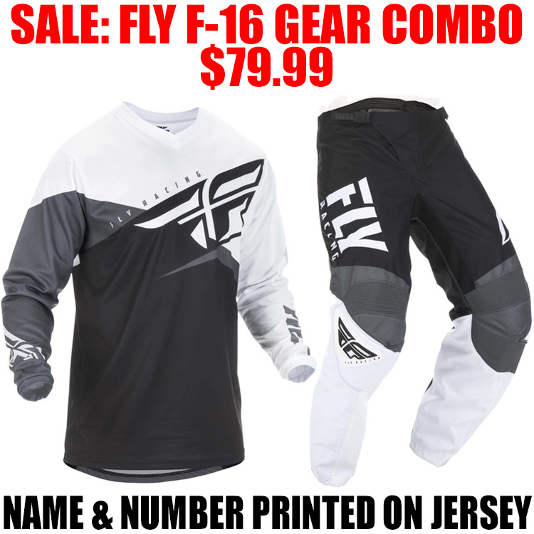 2019 FLY RACING F16 GEAR COMBO BLACK/ WHITE
