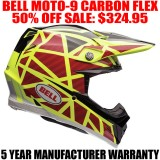 BELL MOTO-9 CARBON FLEX HELMET STRAPPED YELLOW/ RED