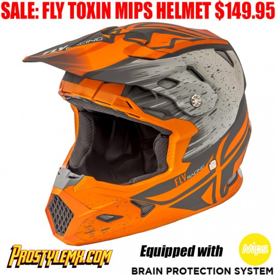 FLY TOXIN MIPS RESIN HELMET MATTE ORANGE/ KHAKI