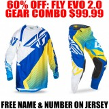 2017 FLY RACING EVO 2 GEAR COMBO BLUE/ YELLOW
