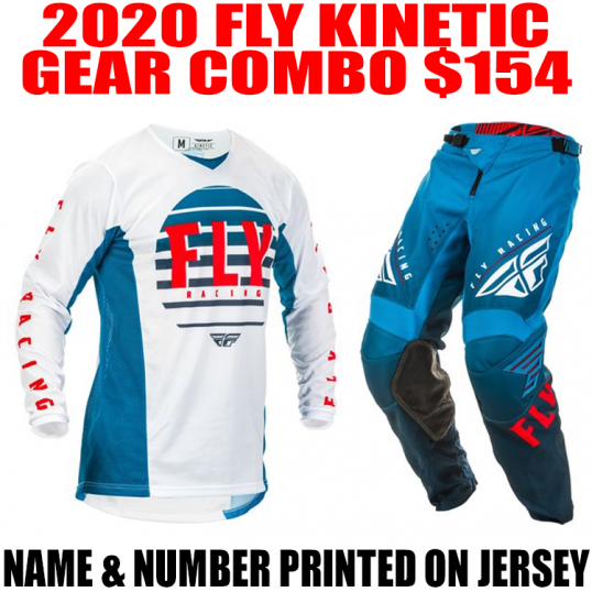 2020 FLY KINETIC K220 GEAR COMBO BLUE/ WHITE/ RED