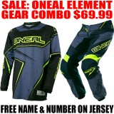 2017 ONEAL ELEMENT RW GEAR COMBO HI-VIS/ GREY