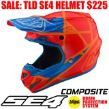 TLD SE4 COMPOSITE METRIC HELMET HONEY ORANGE/ BLUE