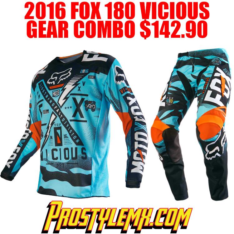 2016 Fox 180 Vicious Gear Combo Aqua Pro Style Mx