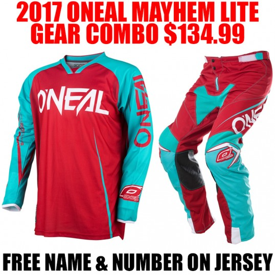 2017 ONEAL MAYHEM GEAR COMBO RED/ TEAL