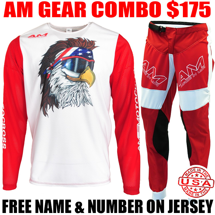 AM MESH 2.0 JERSEY/ AIR PANTS GEAR COMBO RED/ WHITE FREE BIRD