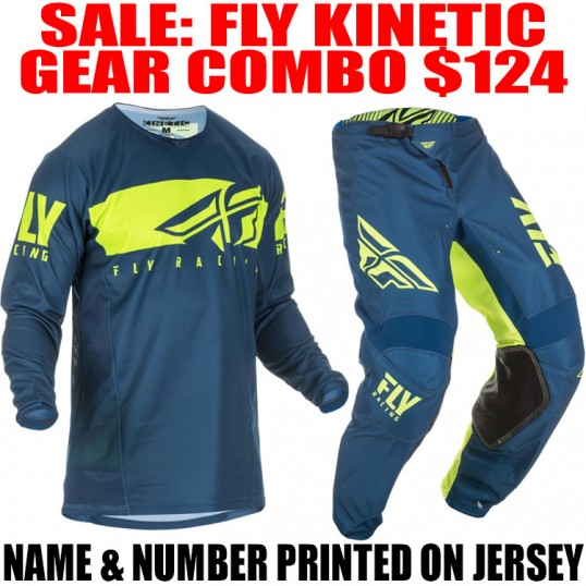 2019 FLY KINETIC SHIELD GEAR COMBO NAVY/ HI VIS