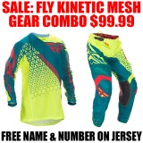 2016.5 FLY KINETIC MESH GEAR COMBO HI VIS/ TEAL